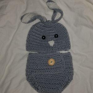 Baby Bunny Hat & Diaper Cover Set